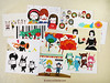 Set of 5 Minifanfan Illustration Postcard Set - Pick any 5 designs - 2013 Postcard Collection - Horizontal Postcards