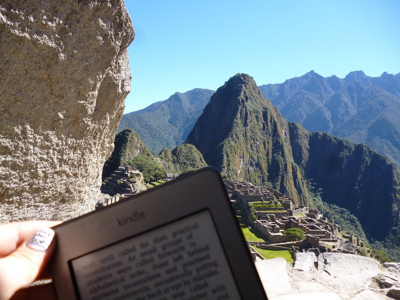 First reading spot at Machu Picchu is along the path leading to the city.