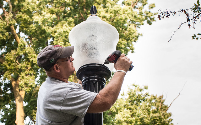 Installing New Campus Lights