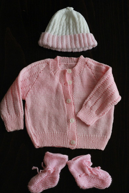 a beautiful hand-knit set