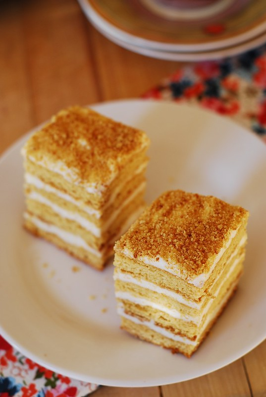 Images Of Cake With Name Honey : Honey cake, with cooked flour frosting   Medovik tort ???? ...