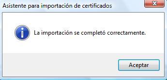 Importación certificado ok en IE