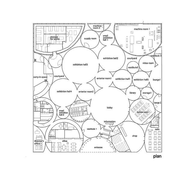 Photo:aat + Makoto Yokomizo - 富弘美術館 Tomihiro Art Museum - Drawings 02 - 平面圖 Floor Plan By 準建築人手札網站 Forgemind ArchiMedia
