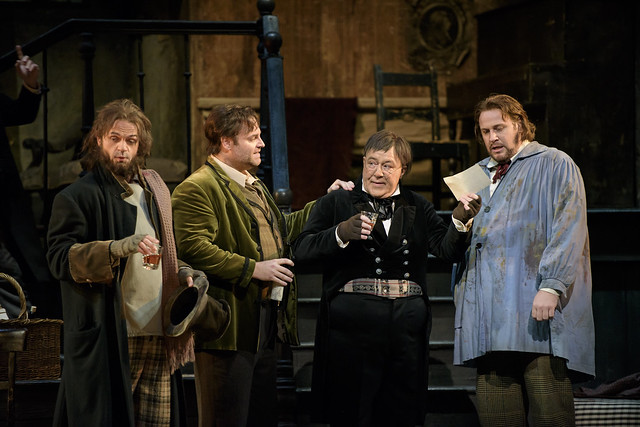 Marco Vinco, Joseph Calleja, Jeremy White and Lucas Meachem in La bohème © 2015 ROH. Photograph by Bill Cooper