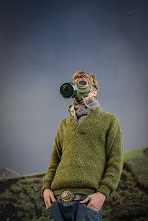 guy with gas mask in Iceland during vulcano eruption