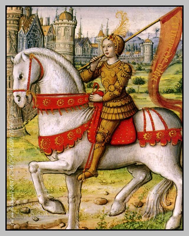 Nous Revenons ! — Illustration de Jeanne d'Arc d'après un manuscrit de 1505.