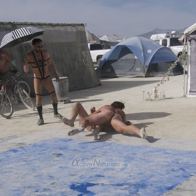 naturist wrestling camp Gymnasium 0025 Burning Man, Black Rock City, NV, USA