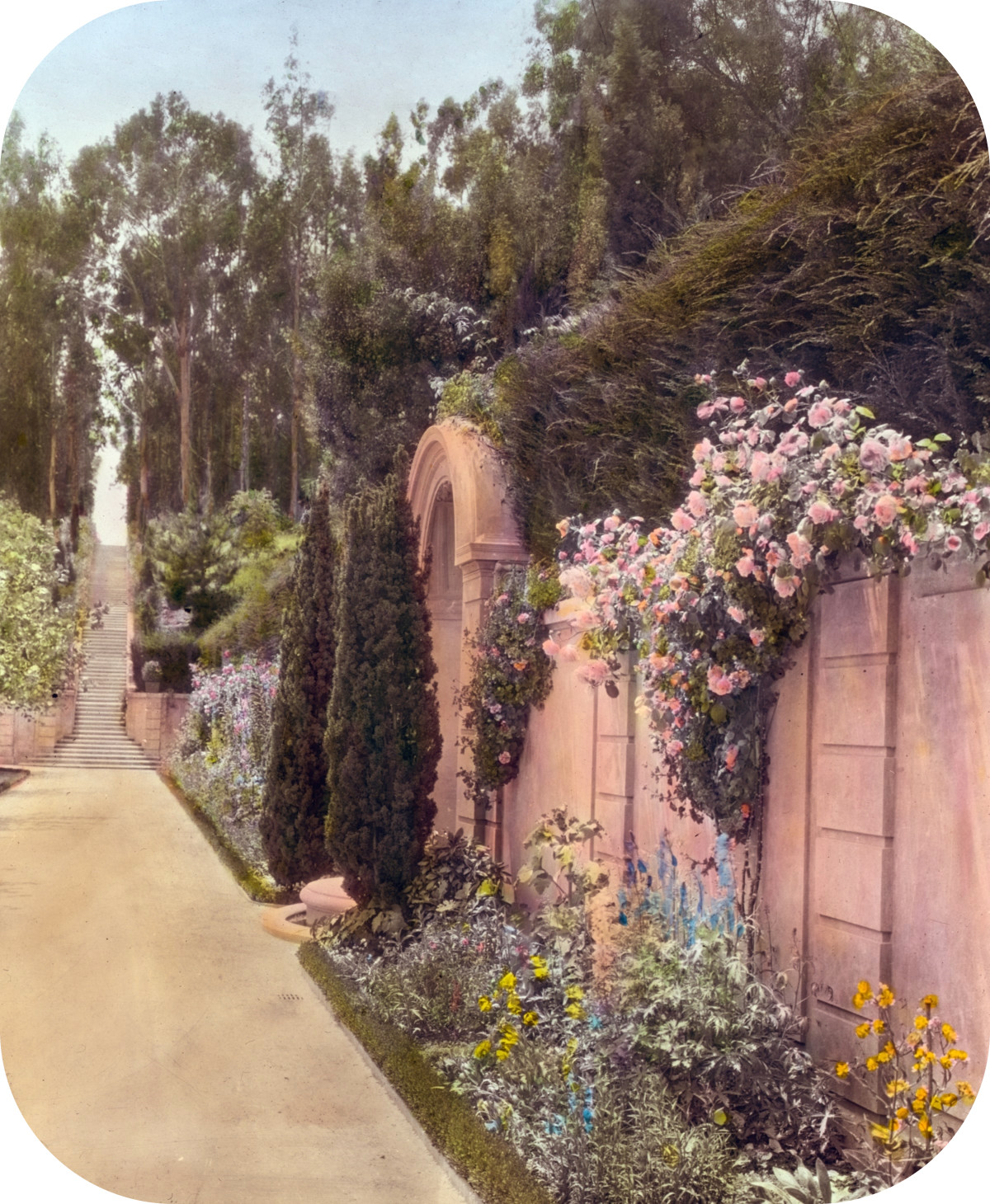 'Villa Rose,' Joseph Donahoe Grant house, 2260 Redington Road, Hillsborough, California. Garden wall