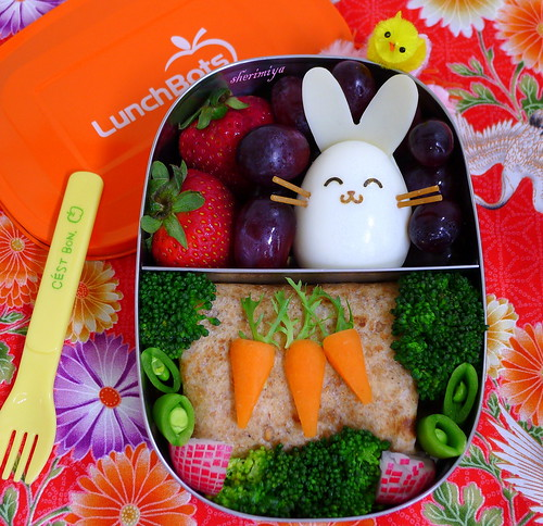 Easter Bunny Chicken Burrito Bento by sherimiya ♥