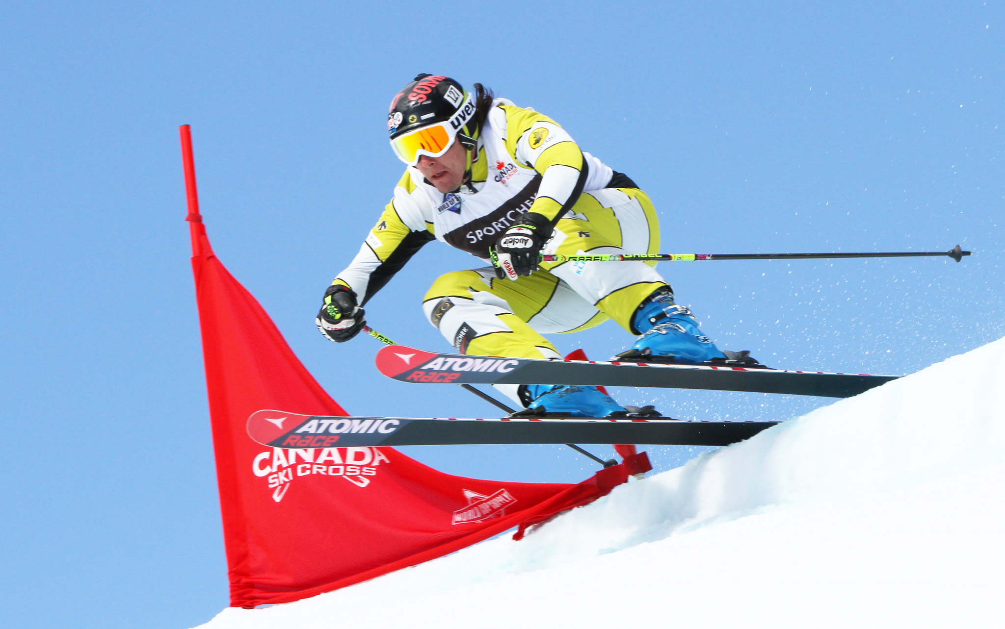 Tristan Tafel getting ready for some air during the Sport Chek Ski Cross Canadian Open in Nakiska.