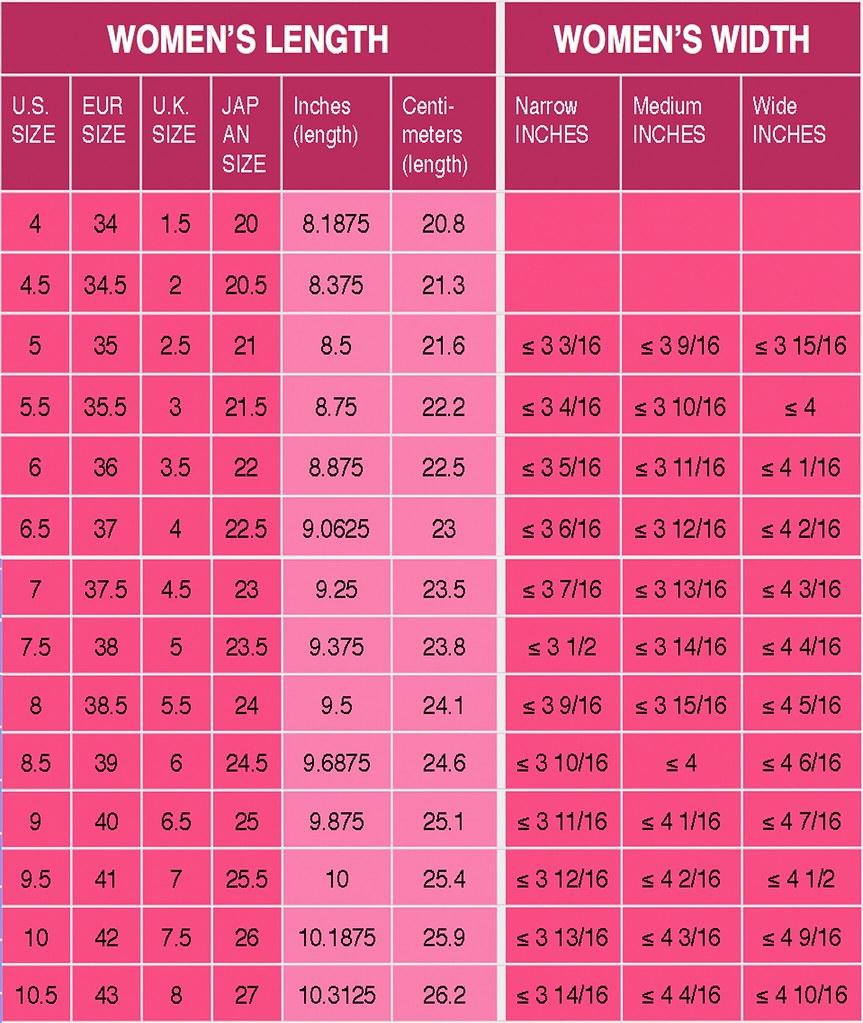 Table Calendar Size : Shoe width chart images shoes size