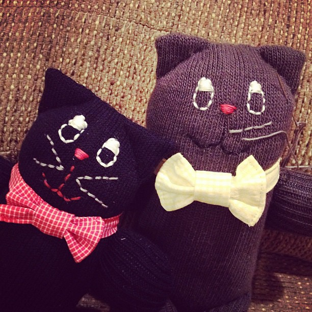 Day 19: More bow tie boys #sewing #handmade #bowtie #sockanimal #cat #iphoneonly