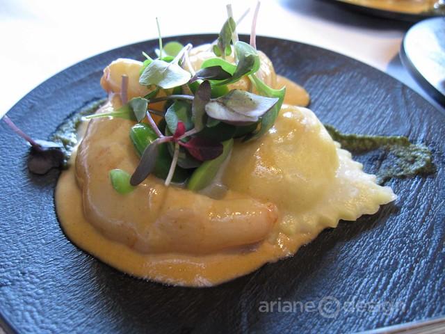 Organic Ocean spot prawns, crab ravioli, prawn bisque, nettle soubise