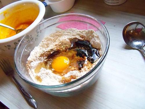 pumpkin pancake mixing