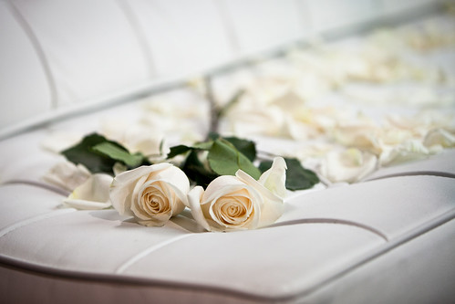 White roses at a wedding