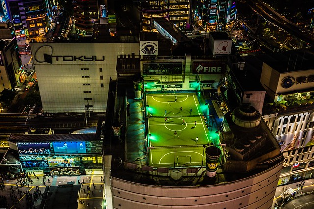 Football on the roof deck