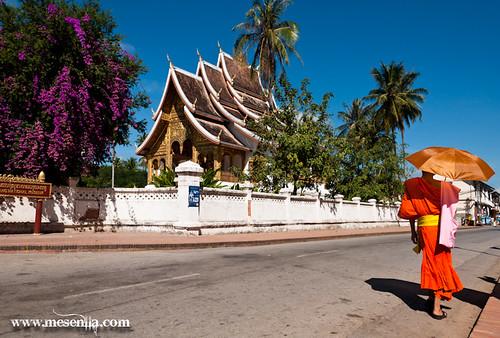 Monjo caminant davant el Royal Palace Museu a Luang Prabang