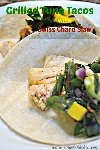 Grilled Tuna Tacos with Swiss Chard Slaw