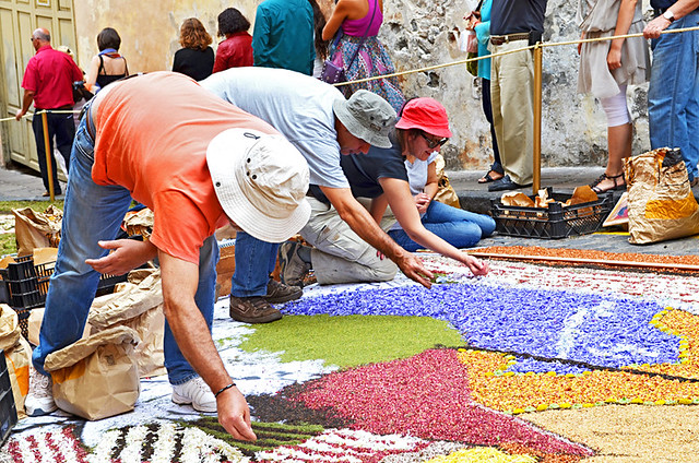Trio of Alfombristas, Corpus Christi, Flower Carpets, La Orotava, Tenerife
