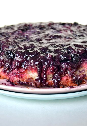 Fourth of July Blueberry Upside Down Jell-O Cake