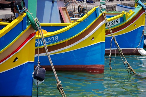 Malta, Fishing Boats in Marsaxlokk Harbour