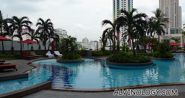The hotel pool is just outside Breeze Spa