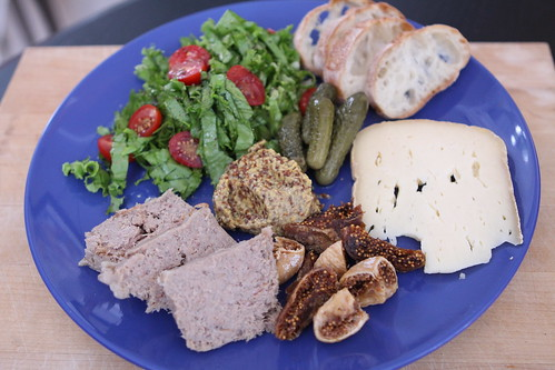 Duck Rillettes with Bethmale, Turkish Figs, Baguette, Whole Grain Mustard, and Tropicana Lettuce Salad with Lemon Vinaigrette
