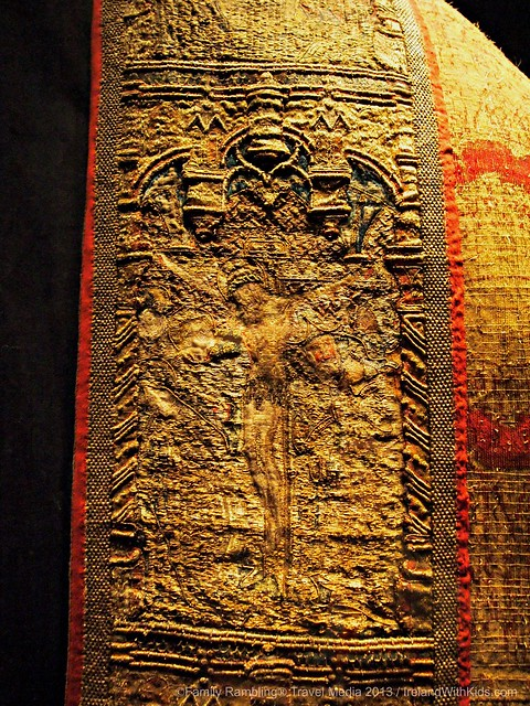 The Crucifixion, elaborately embroidered on a vestment, Medieval Museum, Waterford