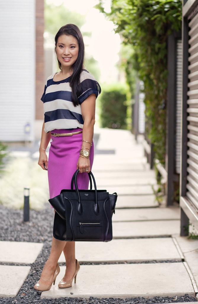 navy stripes, pink j.crew pink no. 2 pencil skirt  #nautical