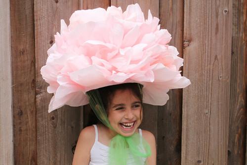 crepe paper peony hat