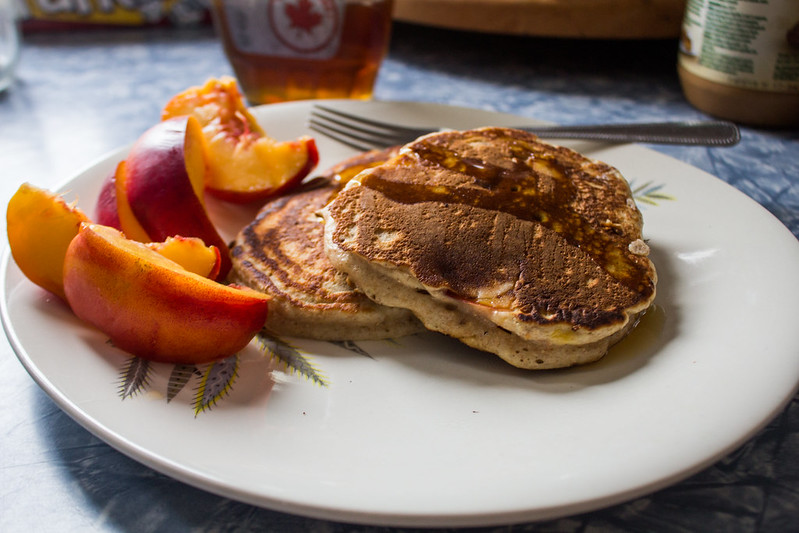 whole wheat nectarine pancakes