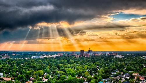 sunset sun skyline clouds downtown state panasonic idaho boise capitol rays hdr crepuscular gf1 45200 darwinfan fandarwin