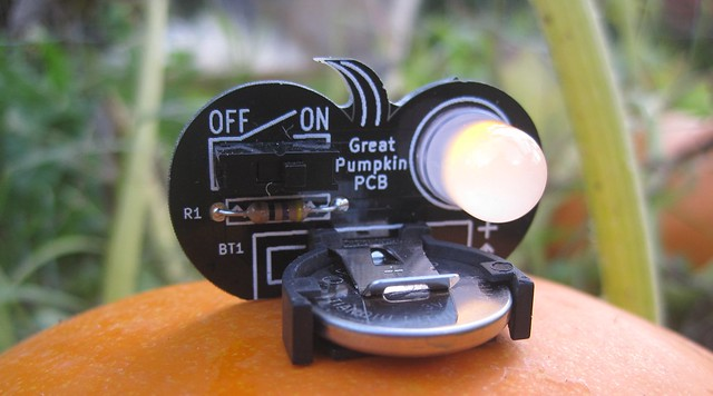 Pumpkin PCB on a pumpkin