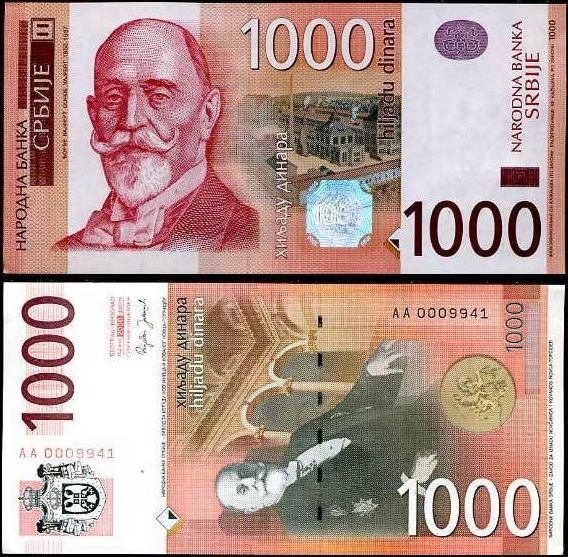 1000 Dinárov Srbsko 2006, Pick 52