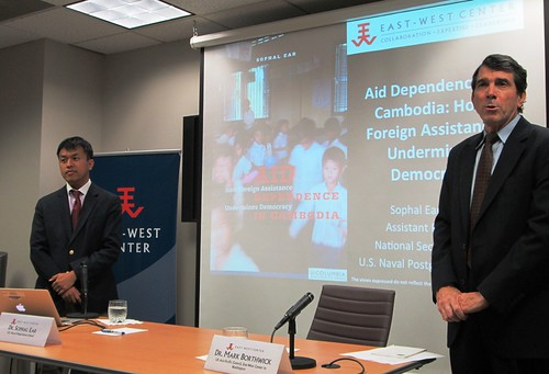 "Dr. Mark Borthwick, director of the US Asia Pacific Council (right), introduces Dr. Sophal Ear, assistant professor at the US Naval Postgraduate School (left) at a discussion of Dr. Ear's latest book: ""Aid Dependence in Cambodia: How Foreign Assistance Undermines Democracy"" at the East-West Center in Washington"