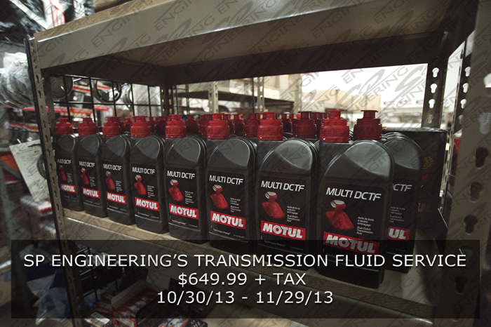 SP Engineering's Transmission Fluid Service (10/30/13 – 11/29/13)