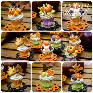Autumn cupcakes in 12th scale