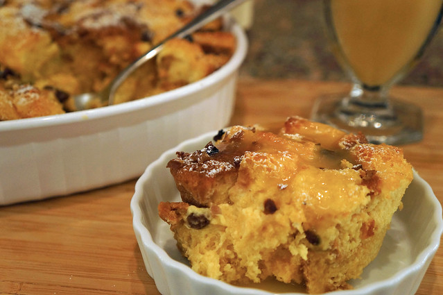 pandoro bread pudding with warm bourbon sauce