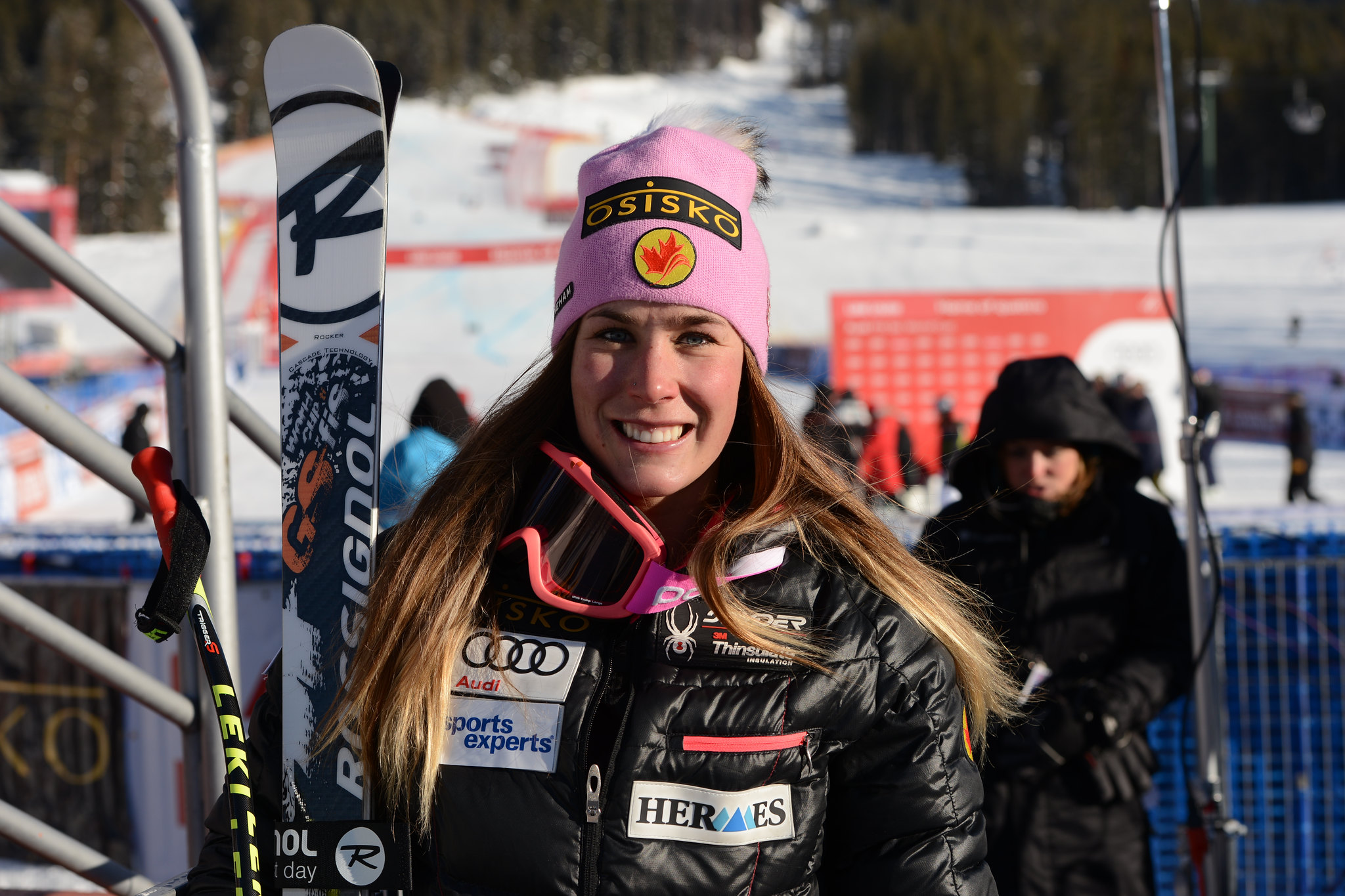 Marie-Michele Gagnon is all smiles following a career best 10th place finish in the super-G at the FIS Alpine World Cup in Lake Louise, CAN