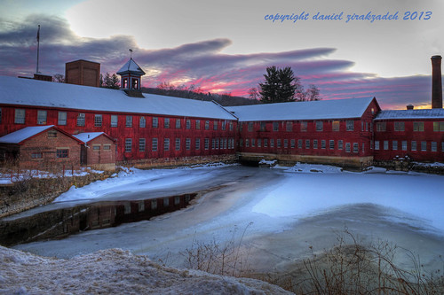 winter snow building mill sunrise connecticut newengland hdr