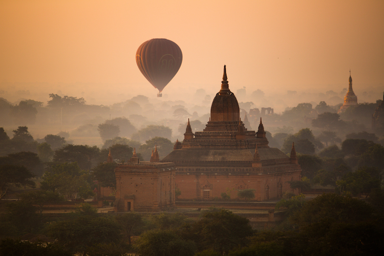 Up Up and Away! Hot Air Balloon over Bagan