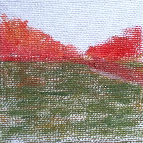 Red Trees and Green Field (Oil Bar Painting as of Dec. 29, 2013) by randubnick
