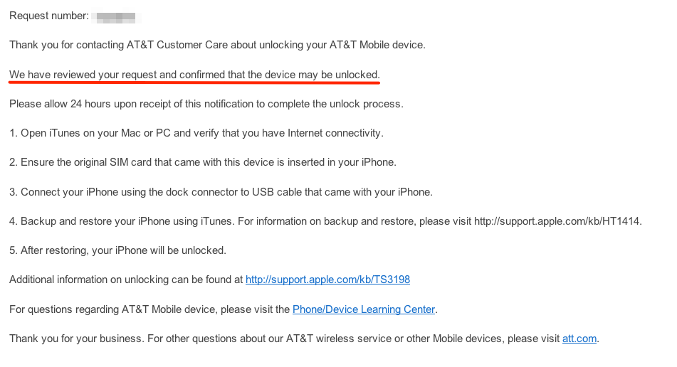 AT&T unlock 5