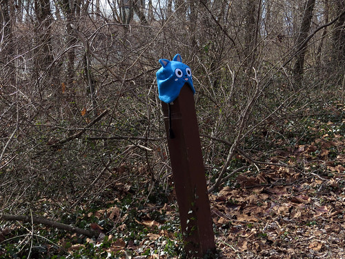 Lost hat has been fitted to the top of an Appalachian Trail marker post.