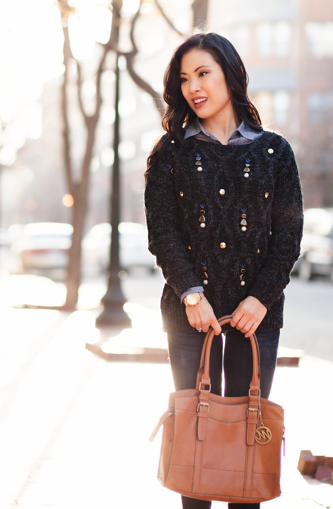 cute & little blog   camel peacoat, oasap embellished bejeweled sweater, chambray shirt, rag bone skinny jeans   casual layered outfit