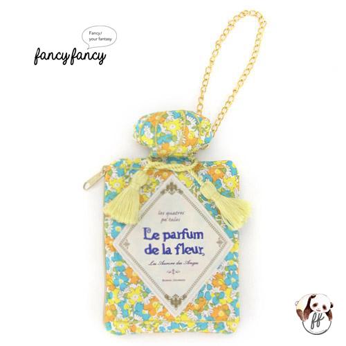 72.繽紛小花香水瓶造型隨身紙巾袋-粉黃