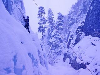 Hannah Ice Climbing WI3 at New Funtier