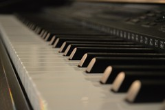 computer component(0.0), electronic device(0.0), pianist(0.0), fortepiano(0.0), player piano(0.0), string instrument(0.0), piano(1.0), musical keyboard(1.0), keyboard(1.0), close-up(1.0), electronic keyboard(1.0), electric piano(1.0), digital piano(1.0), monochrome(1.0), black(1.0), electronic instrument(1.0),