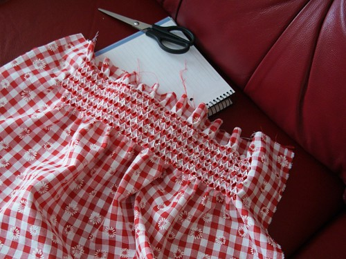 first try at smocking on gingham