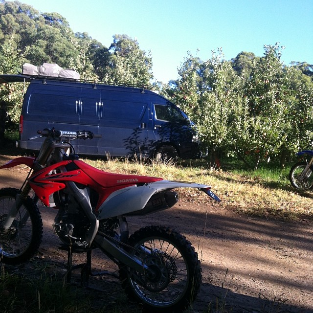 This is my day...... In an apple orchard in the middle of the Yarra valley surrounded by dirt bikes!